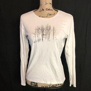 J.jill sz xs Jennifer Reagles white shirt leaves